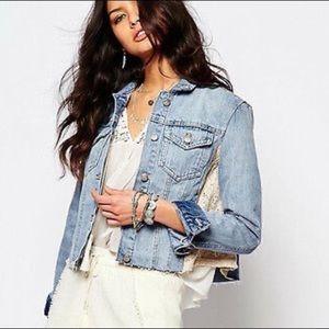 Free people denim jacket cropped lace